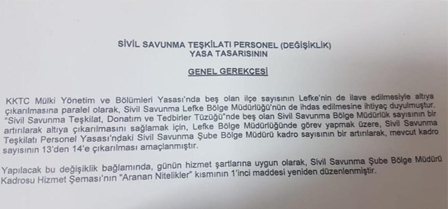 Lefke'de Sivil Savunma Müdürlüğü kurulması için somut adım