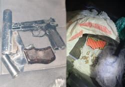 Dipkarpaz'da bir araçta kuru sıkı tabanca ve çok sayıda mermi bulundu