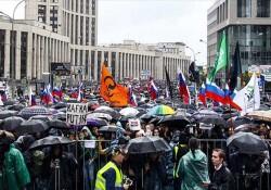 Rusya'da binlerce kişi protesto için sokağa çıktı
