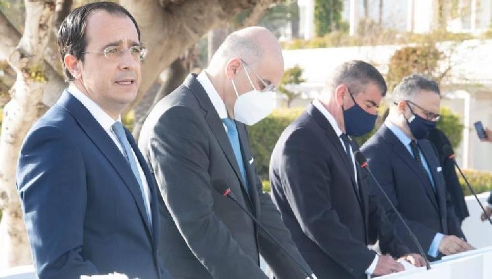 Ο Νίκος Χριστοδουλίδης εξέφρασε την ικανοποίησή του για το αποτέλεσμα της τετραμερούς συνάντησης